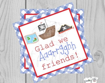 Valentine Printable Tags, Instant Download, Valentine's Day Tags, Square Gift Tags, Classroom Tag, Pirate Tag, Treats, Glad we Arrgh friends