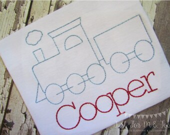 Personalized Boys Train Shirt or Bodysuit- Vintage Stitch Train design- Train Applique- Boys Train Shirt- FREE MONOGRAM