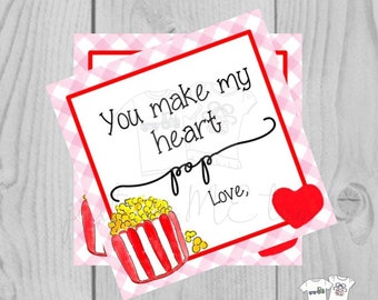 Valentine Printable Tags, Instant Download, Valentine's Day Tags, Square Gift Tags, Classroom Tag, Popcorn Tag, Treats, Heart Pop