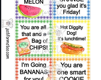 Instant Download Printable Back to School Tags, Apple, Orange, Chips, Cookies, Lunch Box Note, Printable, Instant Download