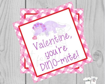 Valentine Printable Tags, Instant Download, Valentine's Day Tags, Square Gift Tags, Classroom Tag, Dinosaur Tag, Treats, You're Dino-mite
