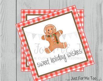 Christmas Printable Tags, Instant Download, Christmas Tags, Cookie Exchange, Merry Christmas, Sweet Holiday Wishes, Gingerbread Cookie