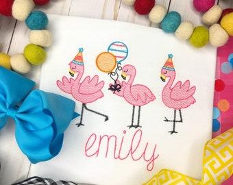 Personalized Girls Birthday Flamingo Embroidered, Party Flamingo, Girls ruffle shirt, Birthday shirt, Free shipping