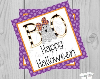 Halloween Printable Tags, Instant Download, Girl Ghost Tags, Square Gift Tags, Happy Halloween, Lunchbox, BOO Tag, Printable, Girl