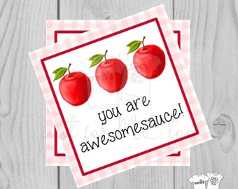 Apple Printable Tags, You are awesomesauce, Instant Download, Apple Tags, Teacher Tags, Lunchbox Note, Student Tag, Valentine Tag. Gingham