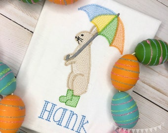 Personalized Boys Easter Sketch Stitch Shirt or Bodysuit, Embroidered, Applique, Boy Shirt, Easter Shirt, Easter Bunny with Umbrella Shirt