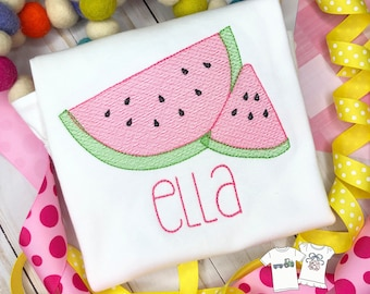 Personalized Summer Watermelon embroidered Shirt- Fruit applique shirt, Summer, embroidery, for girls, watermelon sketch stitch, free ship