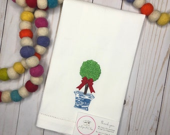Topiary Tree Embroidered Hand Towel, Decorative Towel, Kitchen Towel, Cotton Hand Towel, Bar Cart, Care Package, Summer Hand Towel