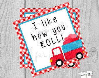 Valentine Printable Tags, Instant Download, Valentine's Day Tags, Square Gift Tags, Classroom Tag, Truck Tag, Treats, I like how you roll