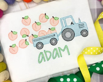 Personalized Peach Tractor Sketch Stitch Shirt, Embroidered, Applique, Peaches, Farm Shirt, Tractor, Peach farm