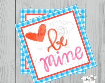 Valentine Printable Tags, Instant Download, Valentine's Day Tags, Square Gift Tags, Classroom Tag, Be Mine Tag, Heart Tag, Friendship Tag