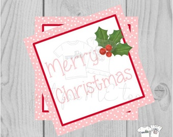 Christmas Printable Tags, Instant Download, Christmas Tags, Square Gift Tags, Merry Christmas, Pink Holly Tag, Pink Tag, Pink Christmas