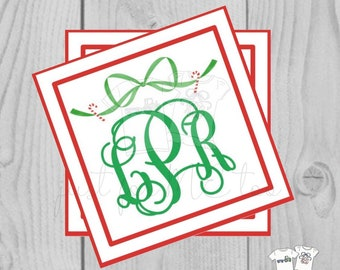 Personalized Christmas Gift Tag, Personalized Tag, Candy Cane Bow Gift Tag, Christmas Tag, Personalize, Monogram Christmas Tag