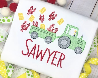 Personalized Crawfish Tractor Sketch Stitch Shirt, Embroidered, Applique, Farm Shirt, Tractor, Low Country Boil, Summer