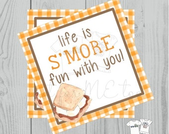 Smores Printable Tags, Instant Download,Life is S'More fun with you, Square, Printable, S'Mores, campfire, camping, birthday, Fall, Orange