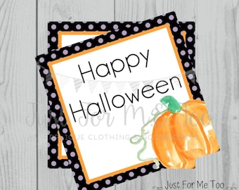Halloween Printable Tags, Instant Download, Happy Halloween Tags, Square Gift Tags, Birthday, Lunchbox, Pumpkin, Printables, Halloween