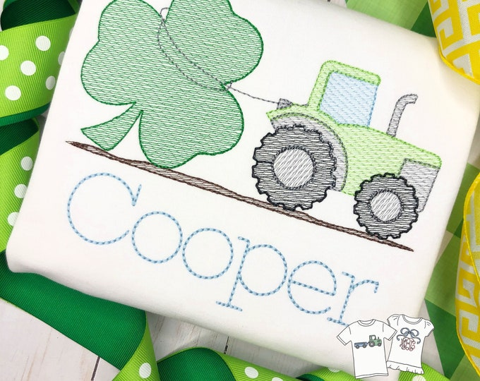 Featured listing image: Personalized St. Patrick's Day Tractor Shirt, Sketch Tractor pulling a Shamrock, Clover, Farm, Embroidered, Free Shipping