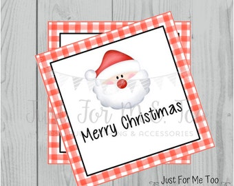 Santa Printable Tags, Instant Download, Christmas Tags, Square Gift Tags, Merry Christmas, Santa Tag, Gift Tag