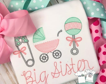 Personalized Big Sister Trio Shirt, Vintage Stitch girls ruffle shirt, big/little sister, classic sibling shirt, Free Shipping