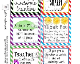 Teacher Appreciation Printable Tags, Instant Download, Teacher Tags, Square Gift Tags, End of School, Teacher Gifts, Small Gifts, Treats