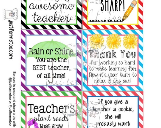 Featured listing image: Teacher Appreciation Printable Tags, Instant Download, Teacher Tags, Square Gift Tags, End of School, Teacher Gifts, Small Gifts, Treats