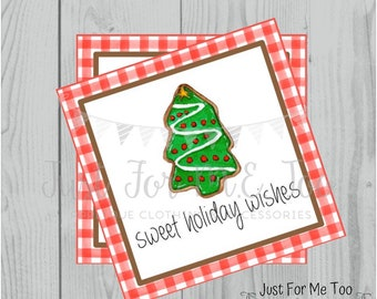 Christmas Printable Tags, Instant Download, Christmas Tags, Cookie Exchange, Merry Christmas, Sweet Holiday Wishes, Christmas Tree Cookie