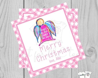 Personalized Girls Christmas Gift Tag, Personalized Tag, Christmas Angel Gift Tag, Christmas Tag, Personalize, Personalized Christmas Tag,