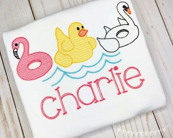 Personalized Summer Float Trio Embroidered Sketch Shirt, Inflatable Flamingo, Duck, Swan, Floatie, Embroidery Pool Float Trio
