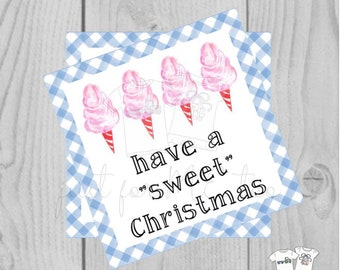Christmas Printable Tags, have a sweet Christmas, Merry Christmas Tag, Cotton Candy Tag, Gift Tag, Blue Gingham