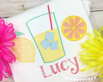 Personalized Lemonade Embroidered shirt  for girls