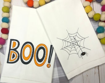 Halloween Embroidered Hand Towel, Decorative Towel, Tea Towel, Cotton Hand Towel, Bar Cart, Hostess Gift, Housewarming Gift, BOO, Spider Web
