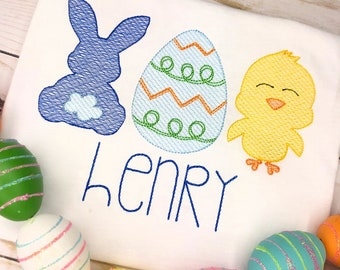 Personalized Boys Easter trio Sketch Stitch Shirt or Bodysuit, Embriodered, Applique, Boy Shirt, Easter Shirt, Bunny, Egg, Chick