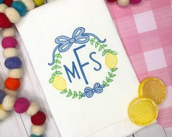 Personalized lemon frame Embroidered Hand Towel, Decorative Towel, Kitchen Towel, Cotton Hand Towel, Bar Cart, Summer Hand Towel
