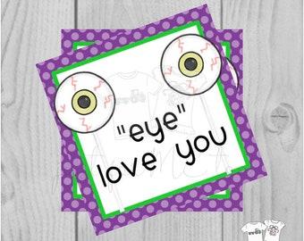 Halloween Printable Tags, Instant Download, Eye Love You, Square Gift Tags, Halloween Eyeballs, Printables, Halloween  friends