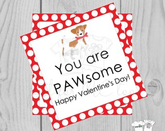 Valentine Digital Download Tag, Valentine Gift Tag, Dog Tag, Puppy Dog Valentine Tag, Printable Tag, You are PAWsome