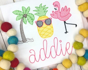 Personalized Girls Beach Embroidered Shirt or bodysuit,  Beach Trio, Sketch Stitch, Embroidery, for Girls, pineapple, flamingo, palm