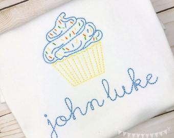 Personalized Birthday Shirt or Bodysuit- Vintage stitch cupcake- Birthday Shirt- Vintage birthday- embroidery, monogram, Vintage Cupcake