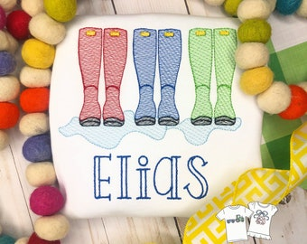 Personalized Rain boots trio Vintage stitch shirt, rain boots, cloud- April showers bring..., boots, boys, embroidered