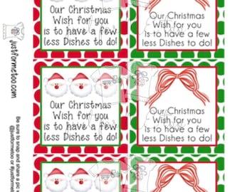 Christmas Printable Tag, Christmas Dishes Tag, Instant Download, Merry Christmas
