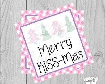 Christmas Printable Tags, Instant Download, Christmas Tags, Square Gift Tags, Merry KISSmas, Pink Trees Tag, Pink Tag, Pink Christmas
