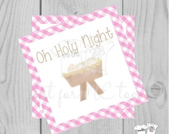 Christmas Printable Tags, Instant Download, Pink Gingham Tags, Square Gift Tags, Oh Holy Night, Baby Jesus, Christmas Tag, Instant Download