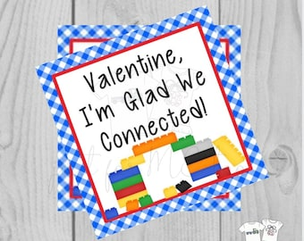 Valentine Printable Tags, Instant Download, Valentine's Day Tags, Square Gift Tags, Classroom Tag, Block Tag, Treats, Glad we Connected