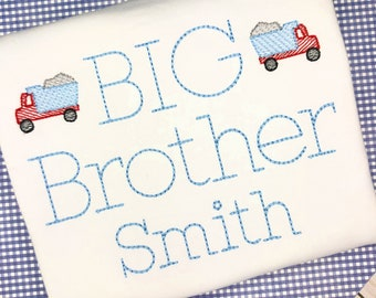 Personalized  Sibling shirt- Big Brother Shirt- Makes a great Gift- Vintage Stitch Sibling shirt- Construction Shirt- Truck