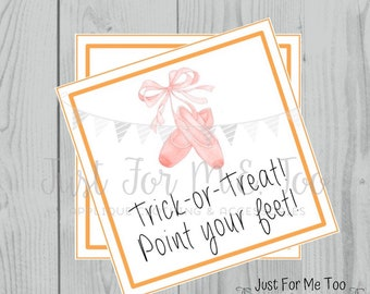 Halloween Ballet Printable Tags, Trick-or-Treat, Instant Download, Ballet Tags, Halloween Tags