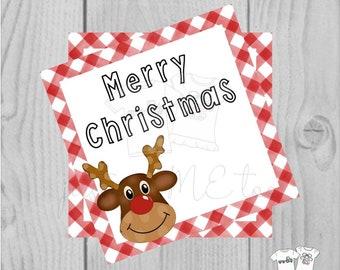 Reindeer Printable Tags, Instant Download, Christmas Tags, Square Gift Tags, Merry Christmas, Reindeer Tag, Gift Tag, Reindeer Food