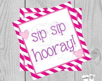 Valentine Digital Download Tag, Valentine Gift Tag, Princess Tag, Girl Valentine Tag, Printable Tag, Drinking Straw, Sip Sip Hooray