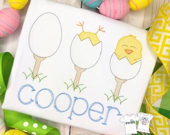 Personalized  Easter Egg trio Sketch Stitch Shirt, Golf Tee, Embriodered, Applique, Boy Shirt, Easter Shirt, Easter, Golf, Easter Chick