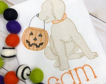 Personalized Halloween Dog Stitch Shirt, Fall Shirt, Pumpkin Applique, Personalized Pumpkin Dog Shirt, Vintage stitch Dog, Jack-O-Lantern