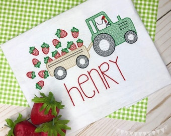 Personalized Strawberry Tractor Sketch Stitch Shirt or Bodysuit, Embroidered, Applique, Strawberry, Farm Shirt, Tractor, Strawberry farm