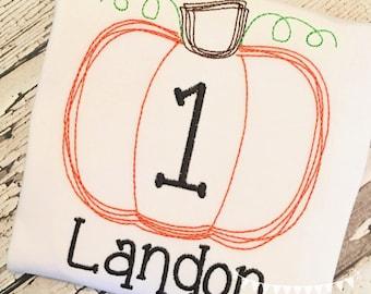 Personalized Birthday Pumpkin Applique Shirt or bodysuit, Fall Birthday, First Birthday Applique shirt, FREE MONOGRAM
